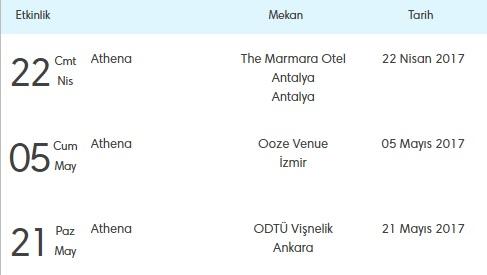 Athena, Şarkılarını Antalya, İzmir ve Ankara'da Söyleyecek!..