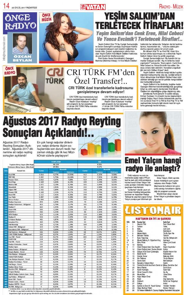 Önce Radyo Köşesi | 25 Eylül 2017 Pazartesi