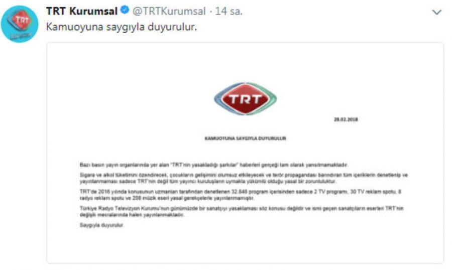 TRT'den Yasaklanan Şarkılar İçin Açıklama Geldi!..
