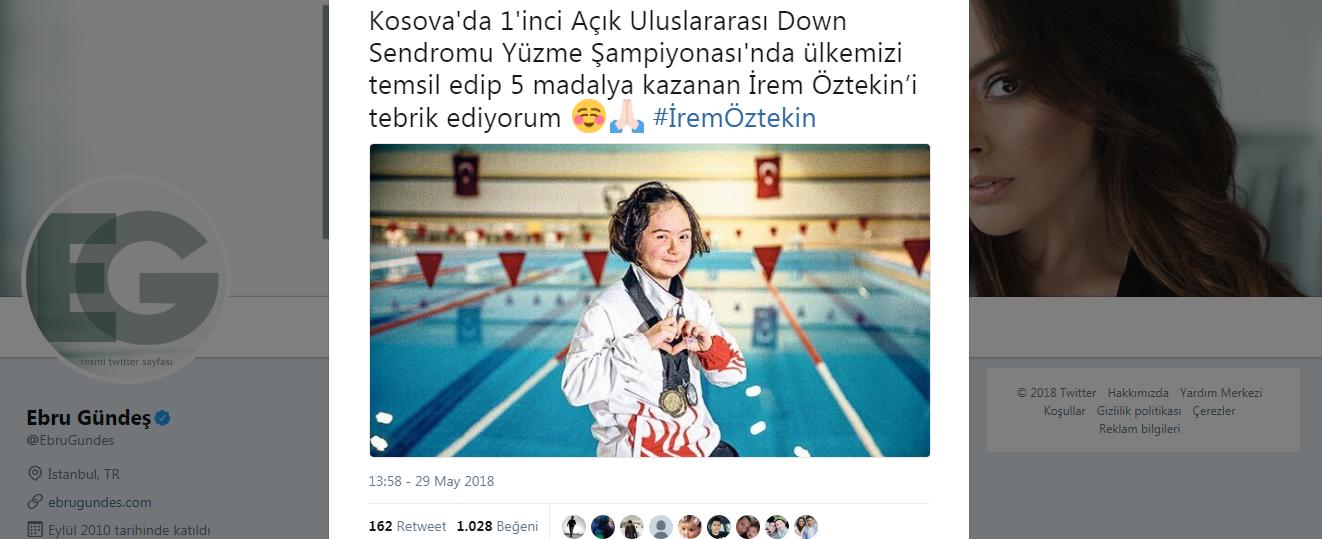 Ebru Gündeş'ten İrem Öztekin'e Tebrik Tweeti!..