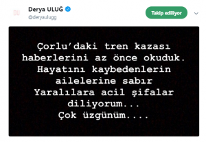 Ünlü Şarkıcılar Tren Kazası Sonrası Taziye Mesajları Yayınladı!..