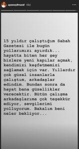 Ayşe Özyılmazel Sabah Gazetesi'nden Ayrıldı!..