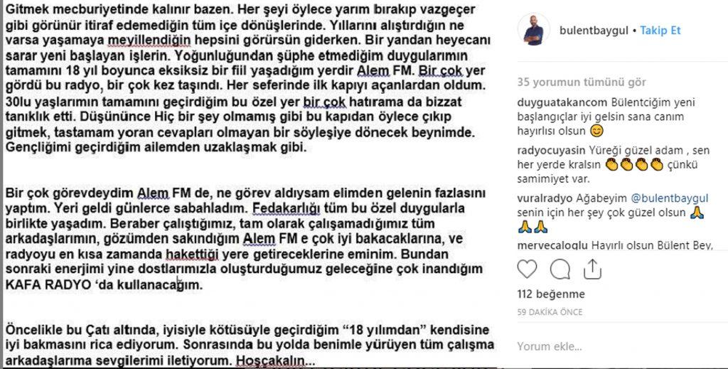 Alem FM'den ayrılan Bülent Baygül'den Açıklama