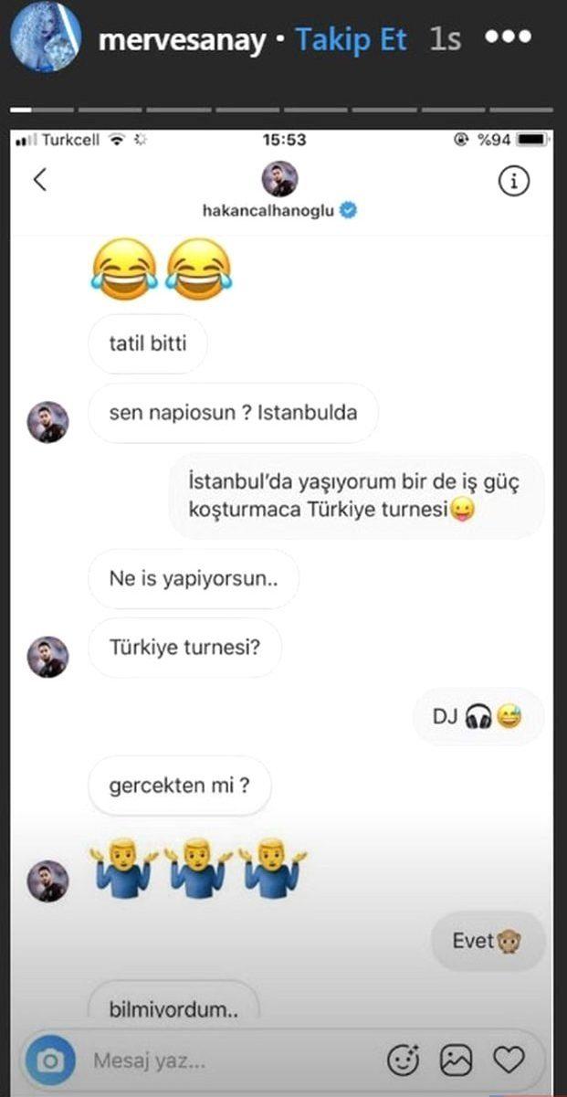Hakan Çalhanoğlu ve Dj Merve Sanayın Mesajları Ortaya Çıktı
