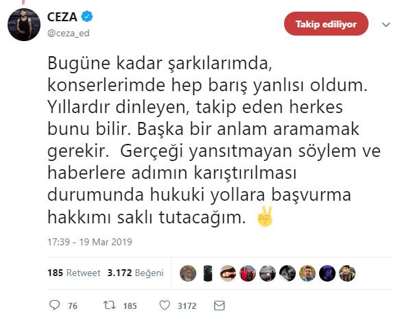 """Ceza'dan Yaptığı İşarete """"Terör İşareti"""" Diyenlere Açıklama"""