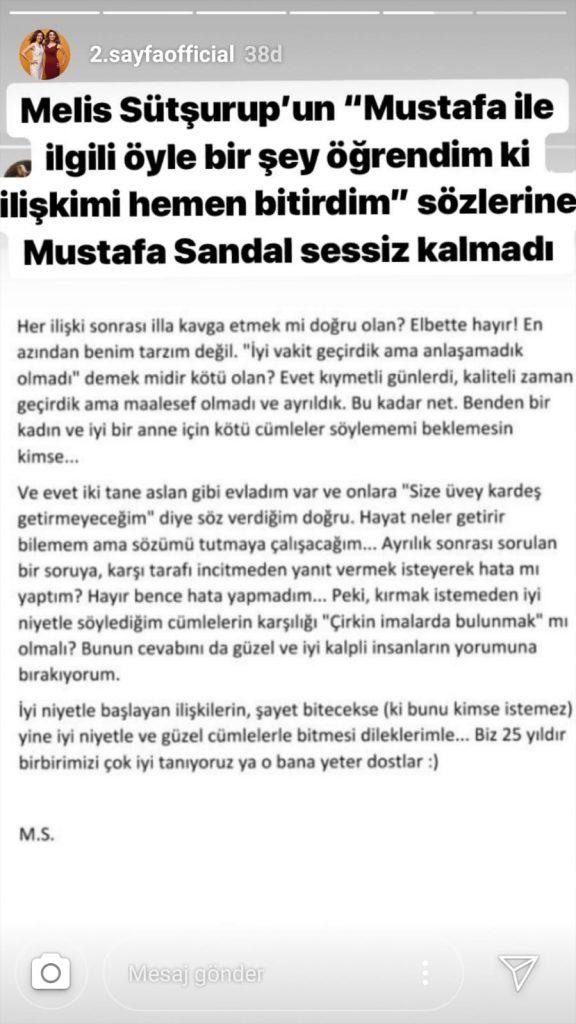 Melis Sütşurup – Mustafa Sandal Cephesinde Şok İddialar