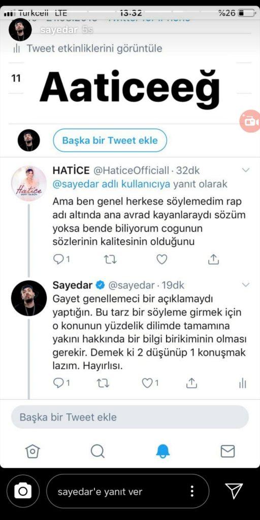 Sayedar'dan Hatice'ye Sert Yanıt
