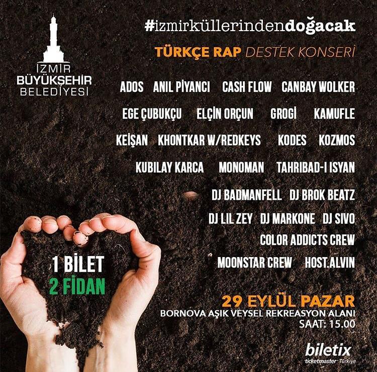 Türkçe Rap Destek Konseri İle İzmir Küllerinden Doğacak