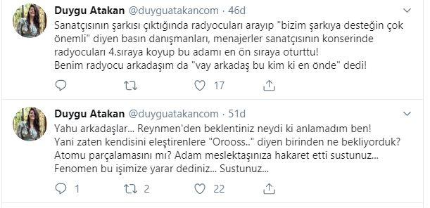 """Duygu Atakan: """"Reynmen'den Beklentiniz Neydi ki Anlamadım Ben!"""""""