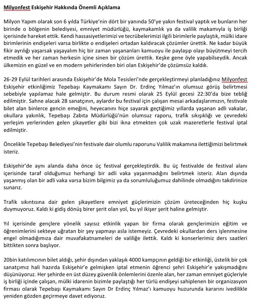 Eskişehir Milyonfest 2 Saat Kala İptal Edildi!