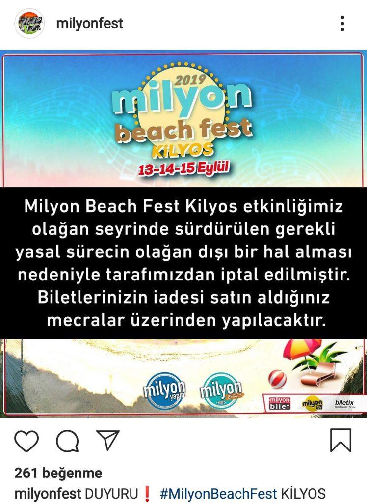 Milyon Fest Klyos Etkinliği İptal Edildi