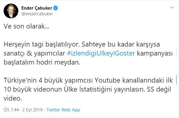 """Ender Çabuker Müzik Dünyasını Şeffaflığa Davet Etti: """"İzlendiği Ülkeyi Göster"""""""
