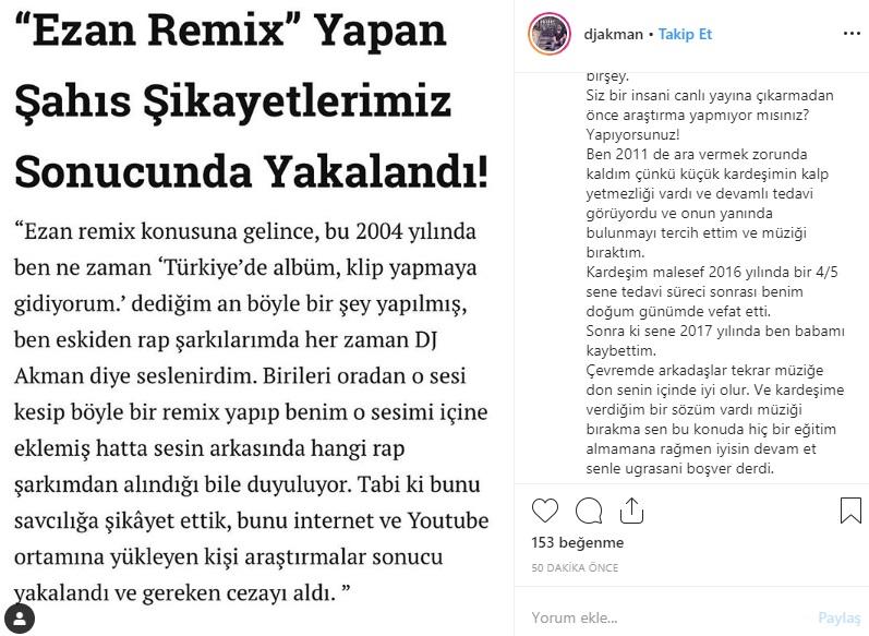 DJ Akman'dan 'Ezan Remix' Açıklaması