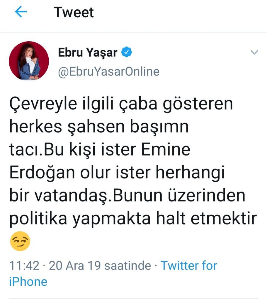Ebru Yaşar'dan Çevre Çıkışı
