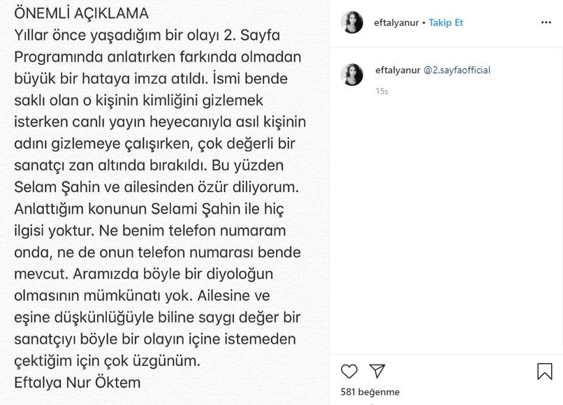 Eftalya Nur Öktem Selami Şahin'den Özür Diledi