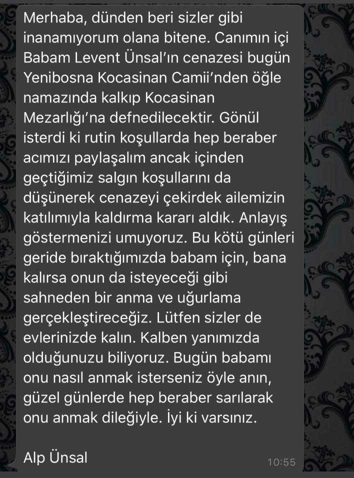 Levent Ünsal'ın Cenazesi İle İlgili Önemli Açıklama