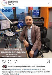 İsmail Saymaz BEST FM'de Yayın Yapacak