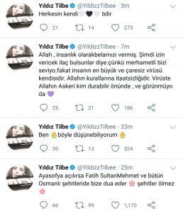 """Yıldız Tilbe: """"Ayasofya'dan Tekbir Sesleri Yükselsin"""""""