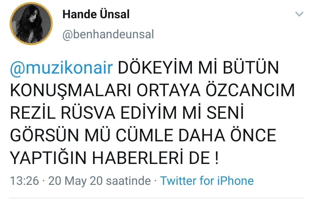 Hande Ünsal'dan Müzik Onair'a Hakaret ve Tehdit!