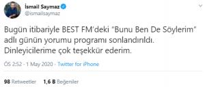 İsmail Saymaz'ın Radyo Programı Sonlandırıldı
