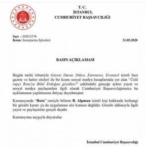 """İstanbul Cumhuriyet Başsavcılığı: """"Rota'nın Gözaltına Alındığı Haberleri Gerçek Dışı"""""""
