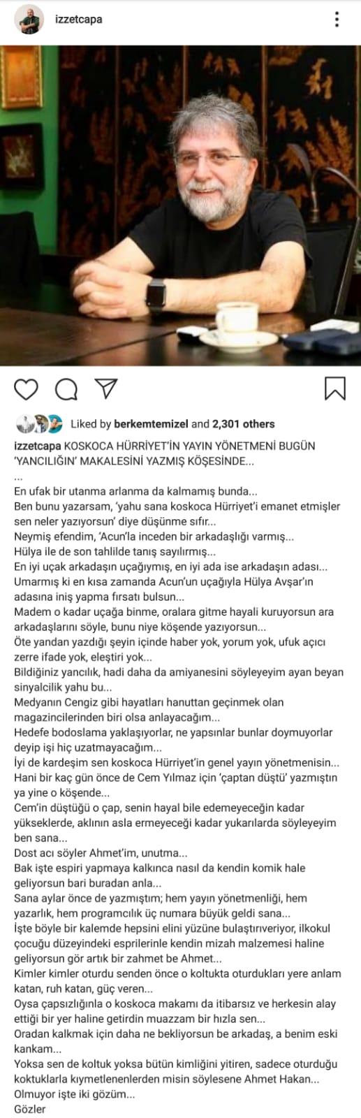 """İzzet Çapa Ahmet Hakan'a Verdi Veriştirdi: """"Utanması Arlanması Yok"""""""