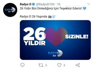 Radyo D, 26'ncı Yaşını Kutluyor!